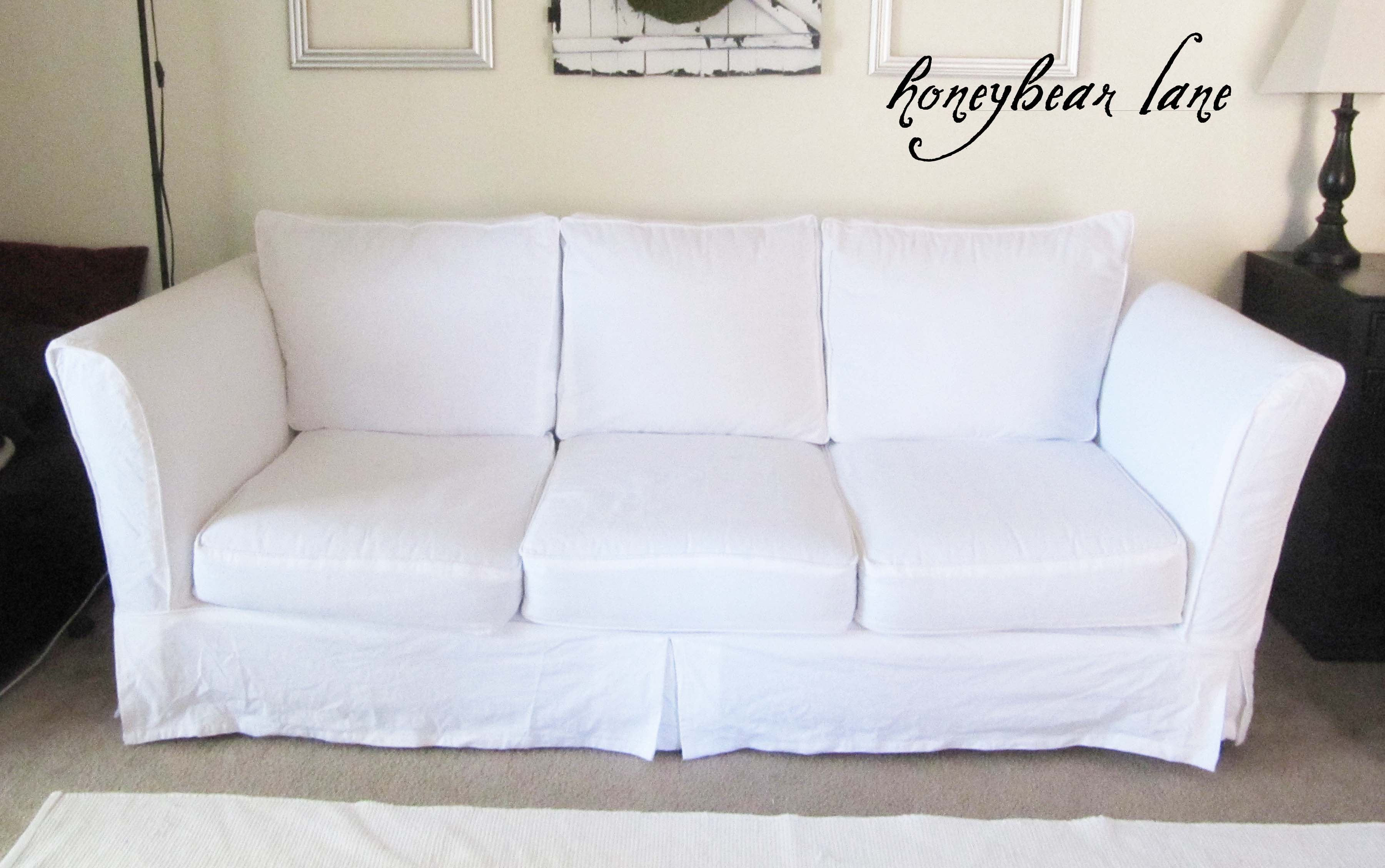 How to make a slipcover part 2 slipcover reveal for Build your own couch cheap
