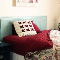 Headboard Makeover:  Black to Aqua