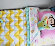 A Twin Size Chevron Puff Quilt!