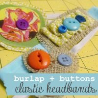 Burlap + Buttons Elastic Headbands
