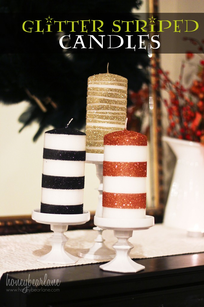 glitter striped candles