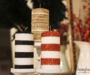 glitter striped on candles