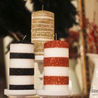 Glitter Striped Candles!
