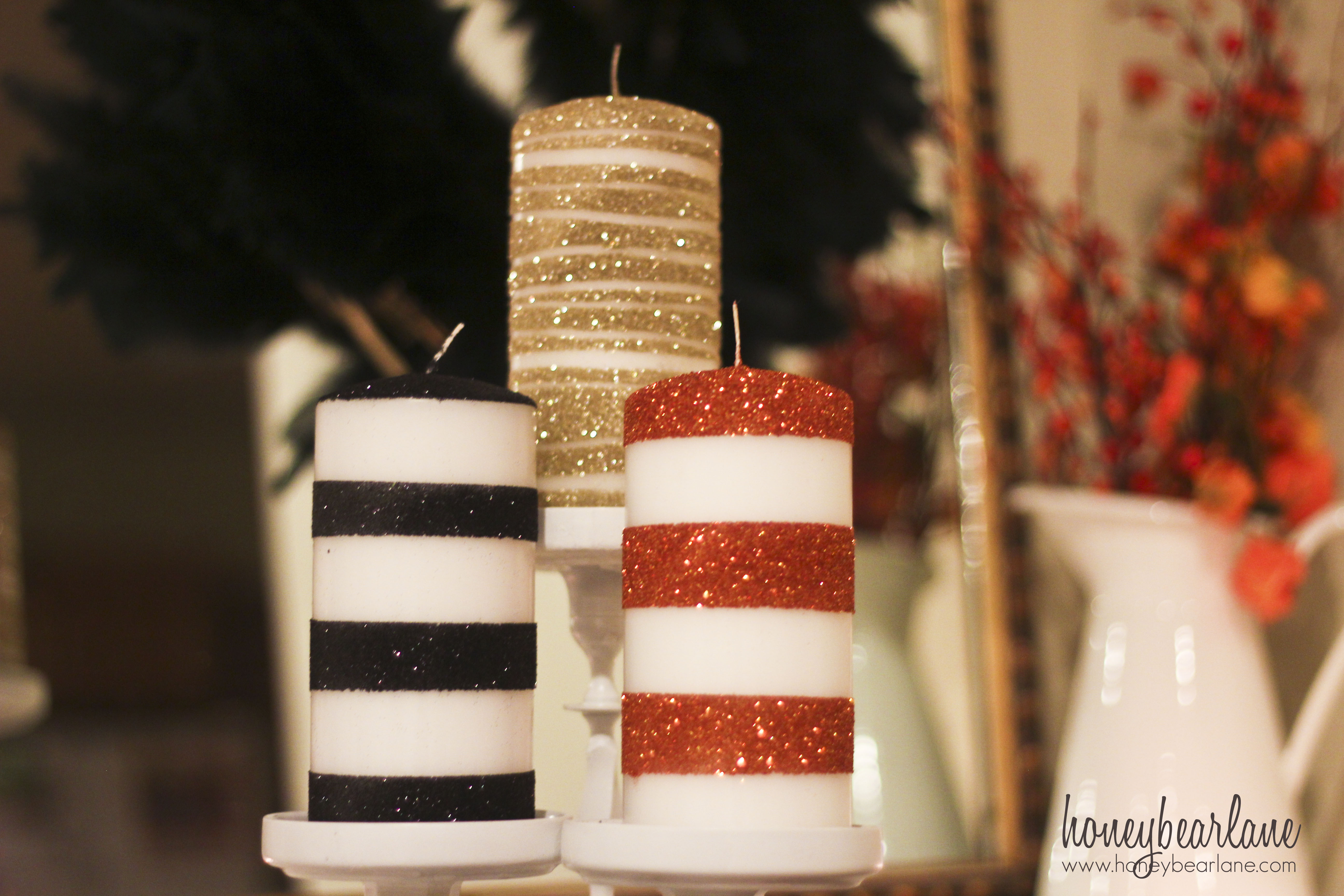 Uncategorized Candle Decorate glitter striped candles honeybear lane candles