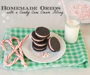 Homemade oreos cookies with a peppermint candy cane filling dark chocolate with words