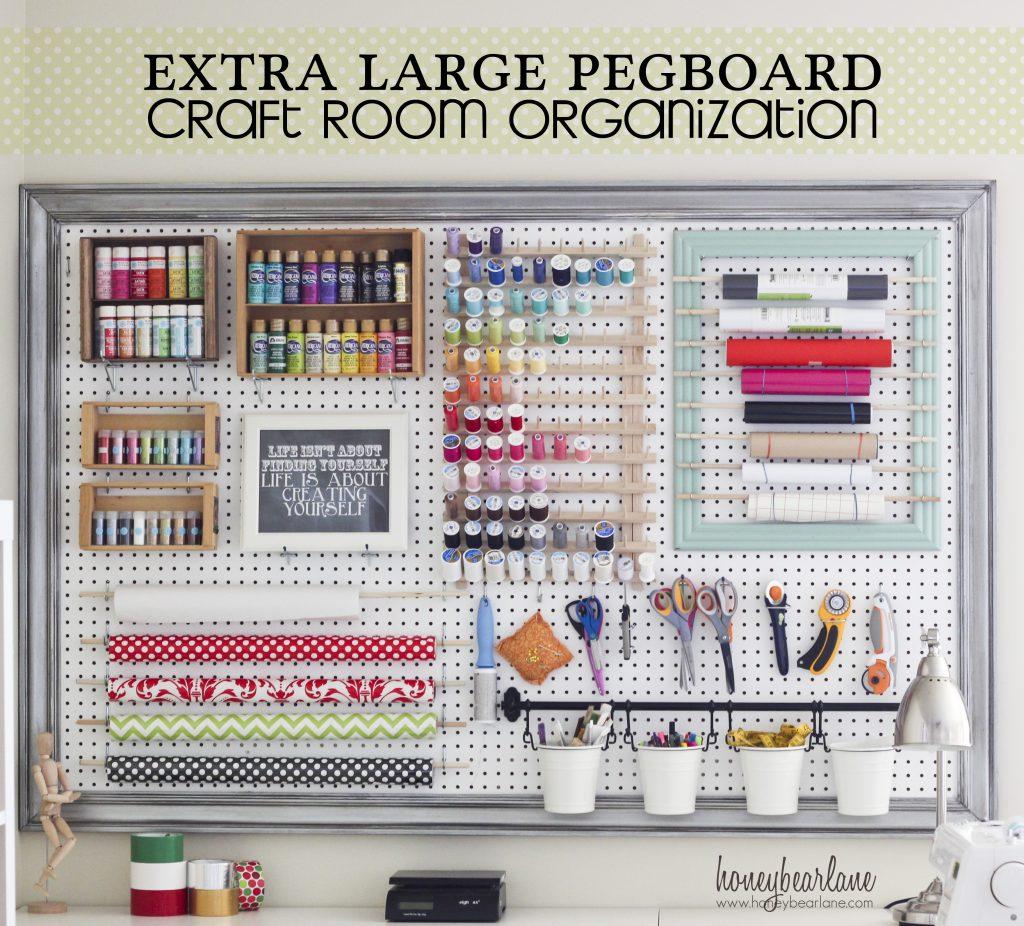 extra large pegboard craft room organization