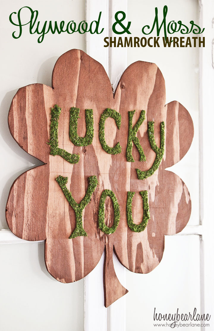 Plywood and Moss Shamrock Wreath