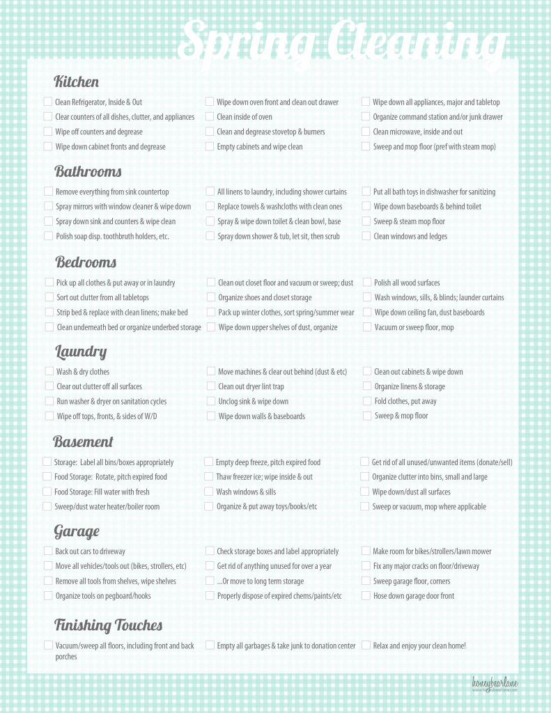 Crafty image for printable cleaning list