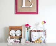framed burlap monogram