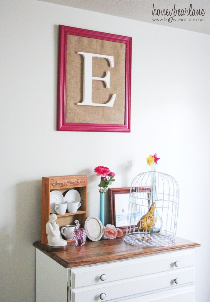 framed burlap monogram from honeybearlane