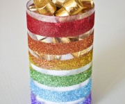 Rainbow Vase with Martha Stewart Glitter