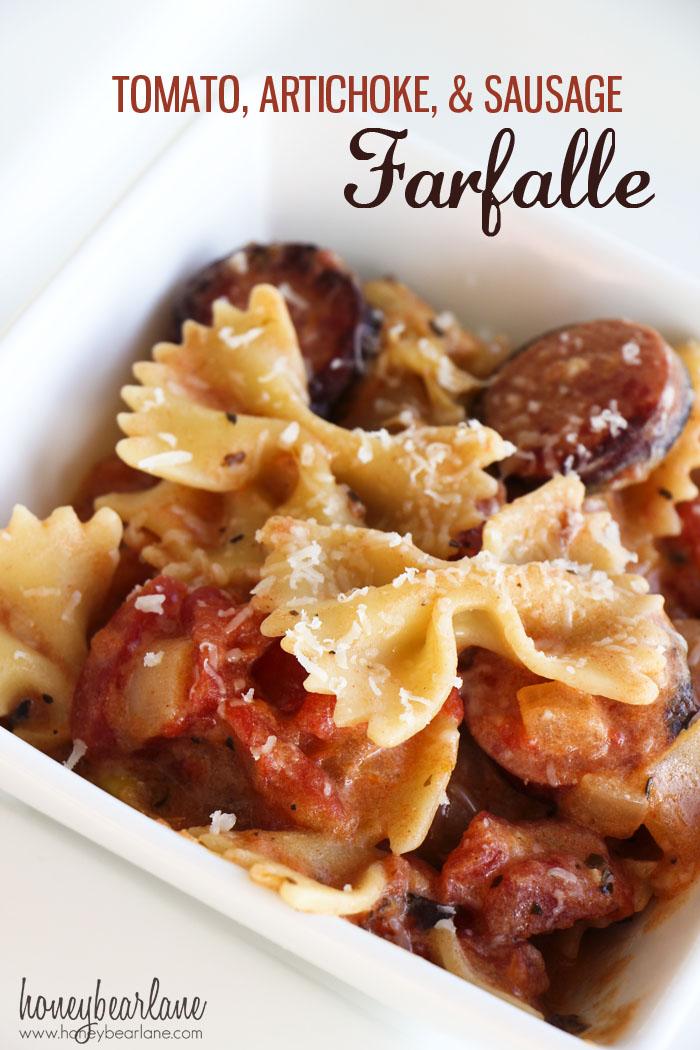 Tomato Artichoke and Sausage Farfalle