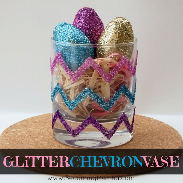 glitter chevron easter vase