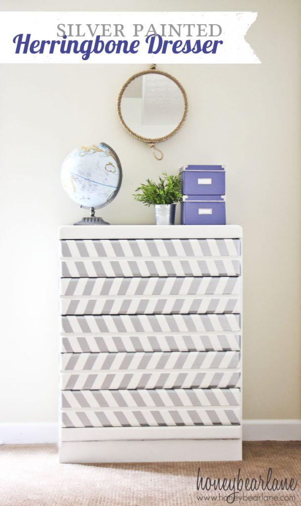 silver painted herringbone dresser