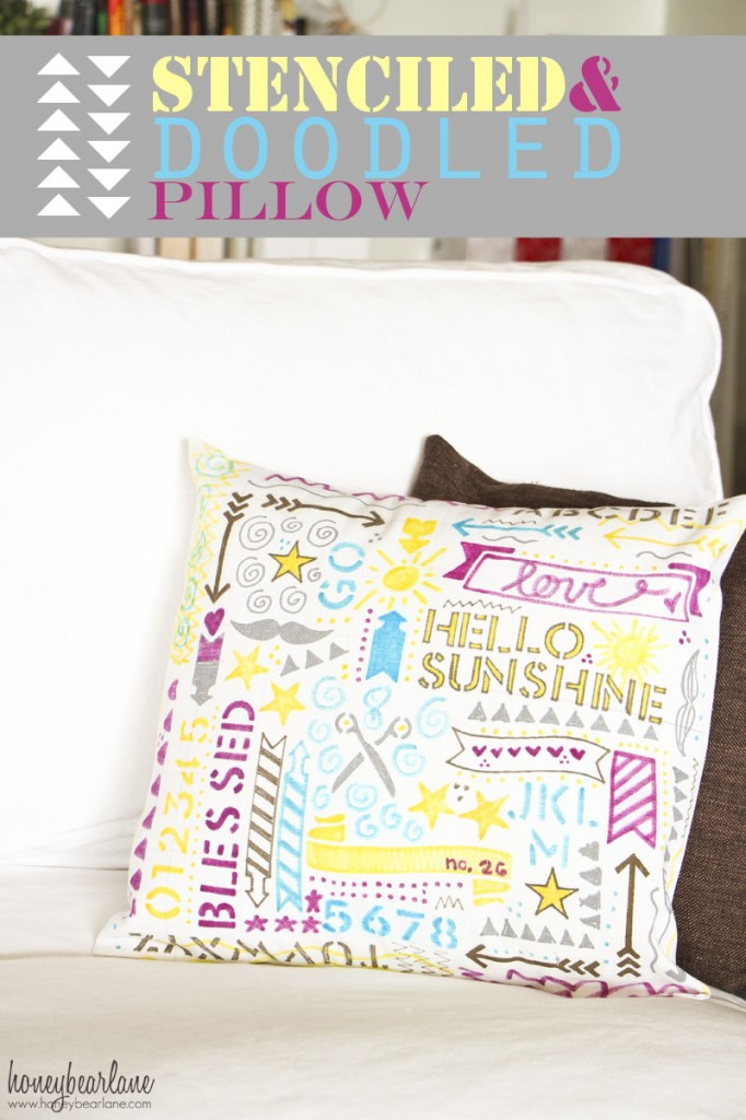 stenciled doodled pillow