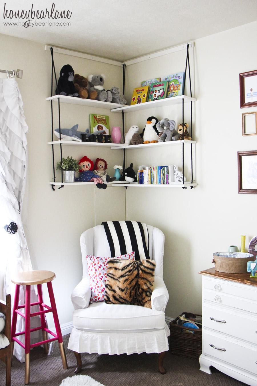 Corner Rope Shelves DIY - Honeybear Lane