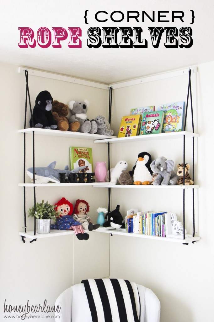 corner rope shelves nursery