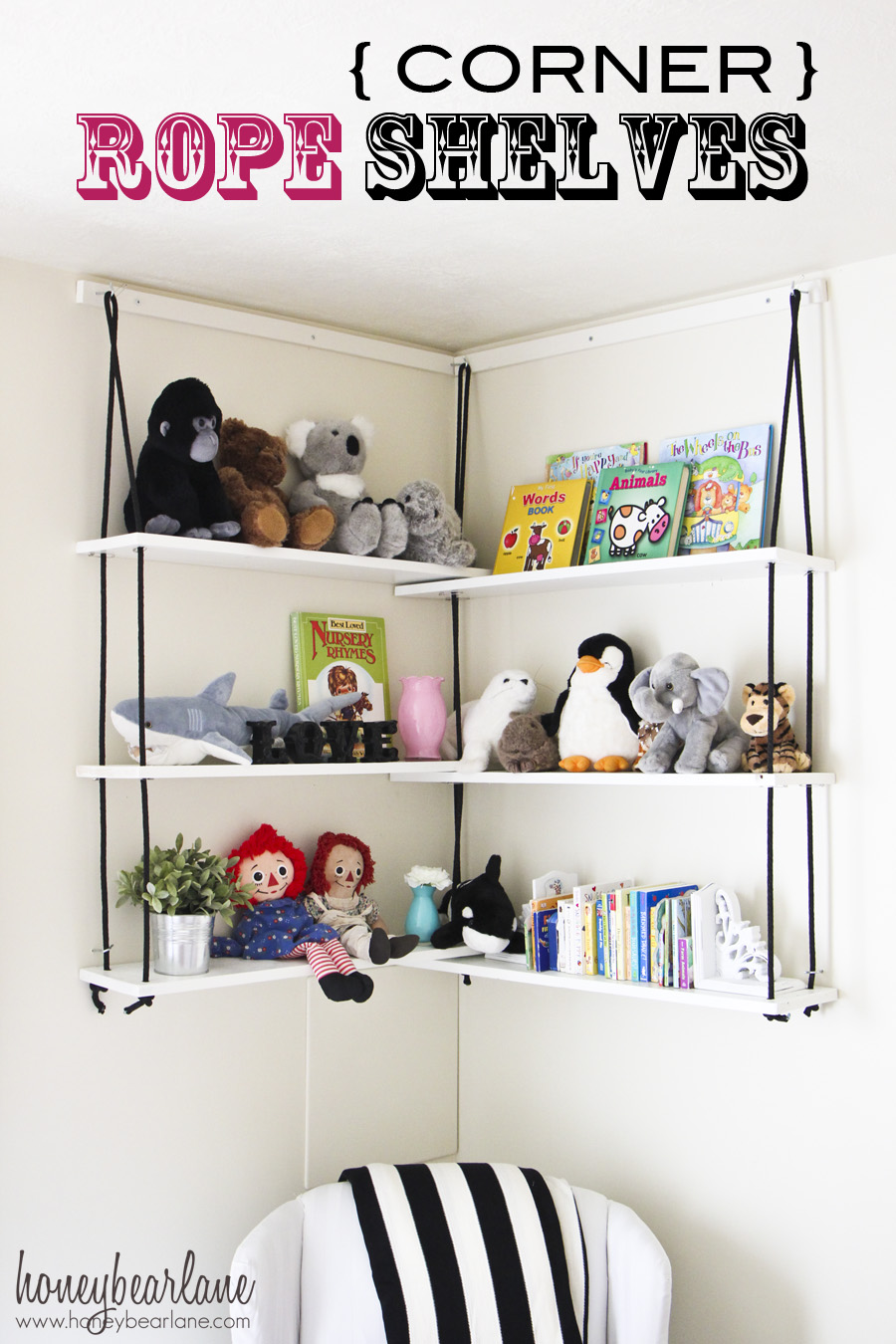 Corner Rope Shelves DIY - Honeybear Lane
