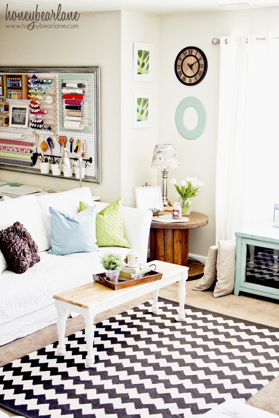 Colorful living room corner bookshelves