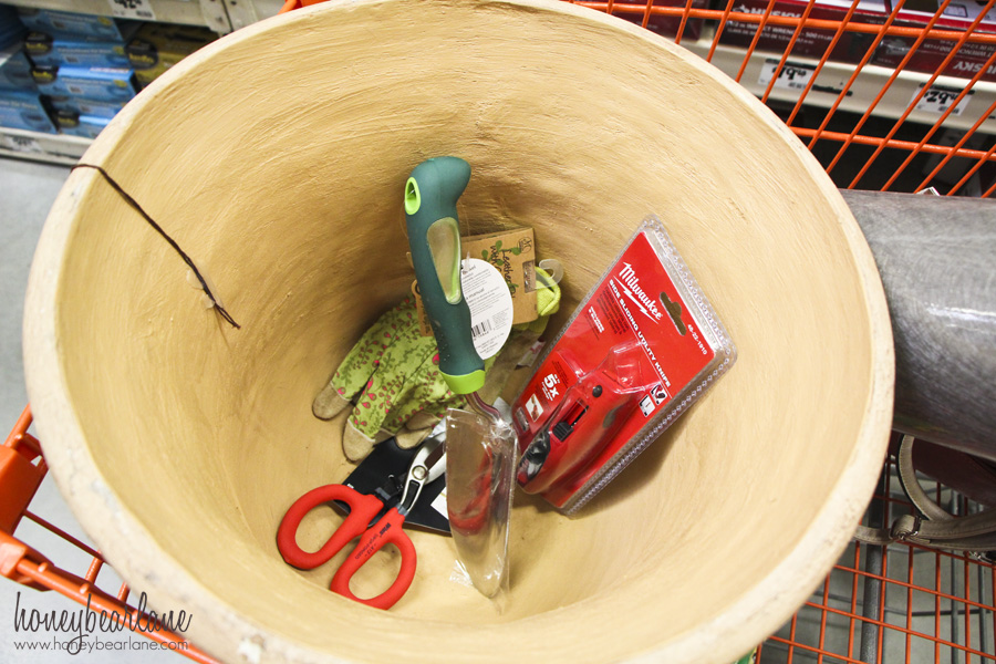 shopping for flower tower supplies at home depot