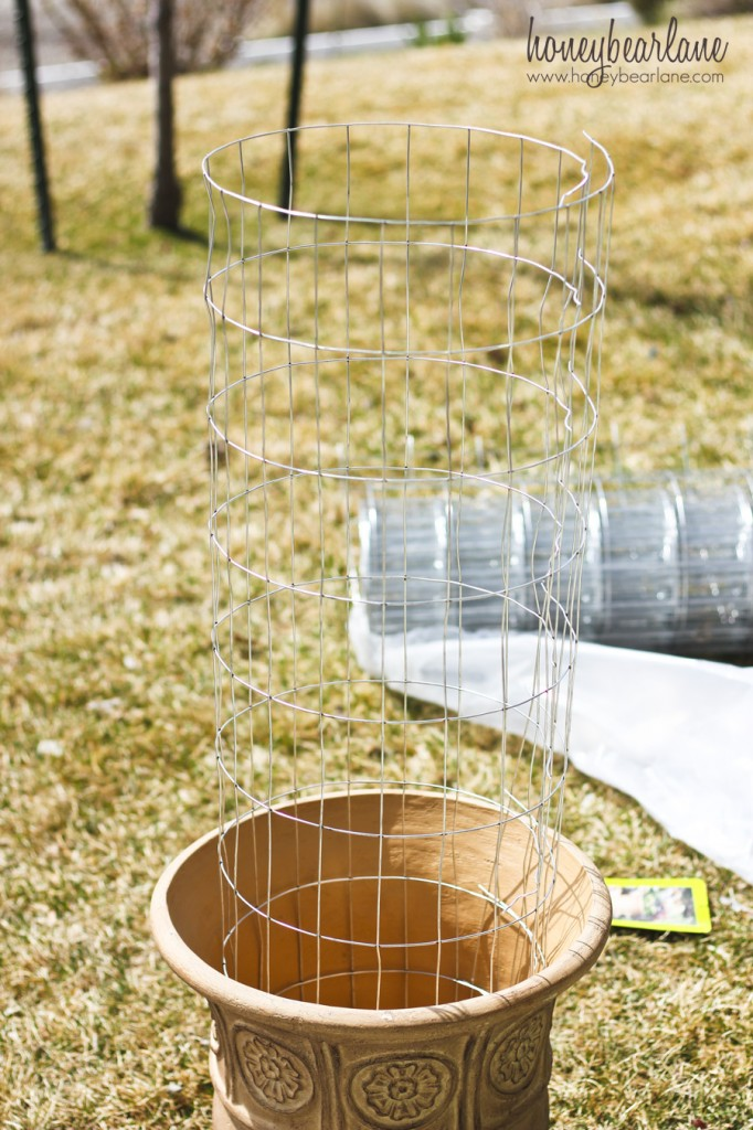 wire fencing for flower tower