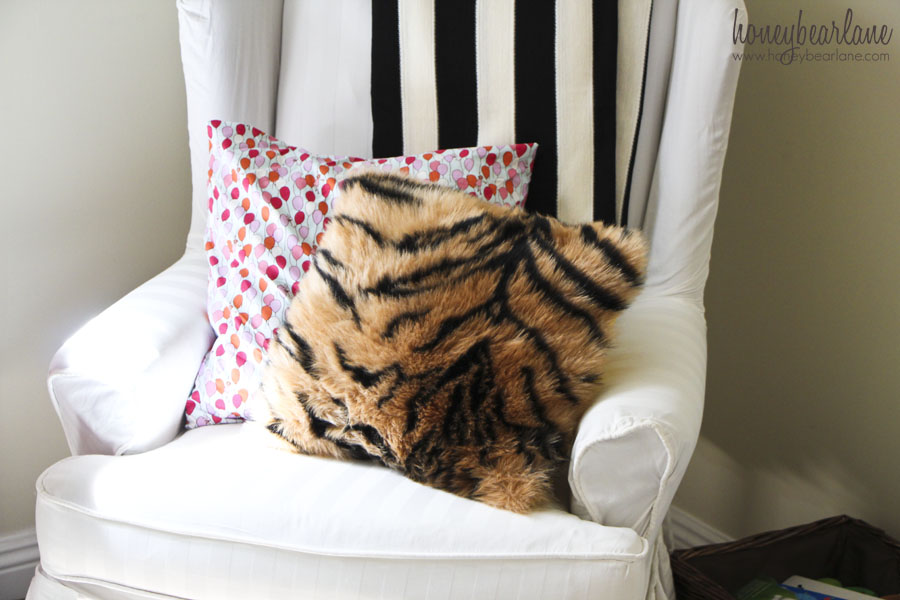 faux tiger fur pillow