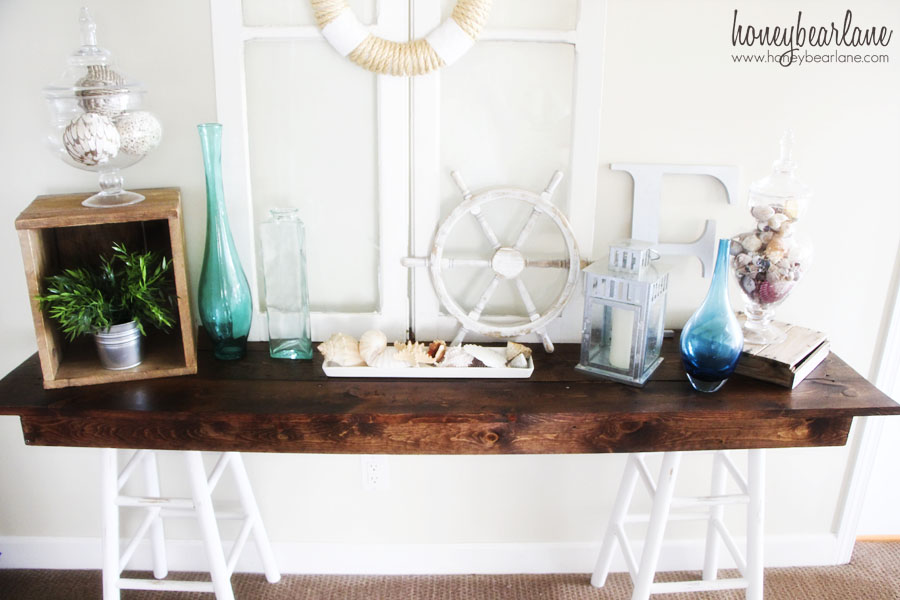 pottery barn knockoff sawhorse table