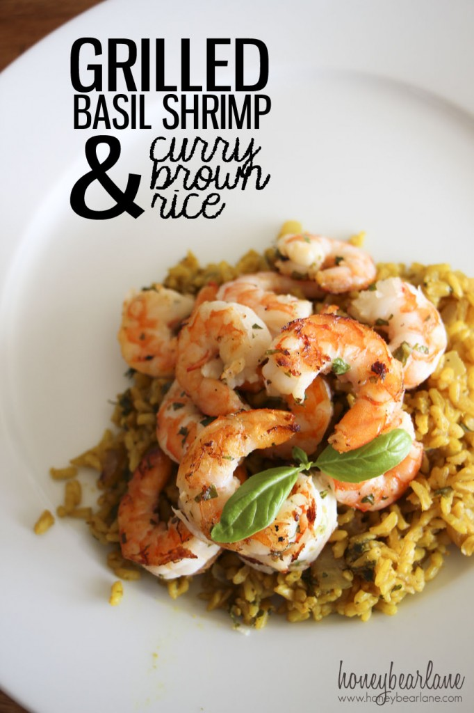 Basil Shrimp and Curry Rice
