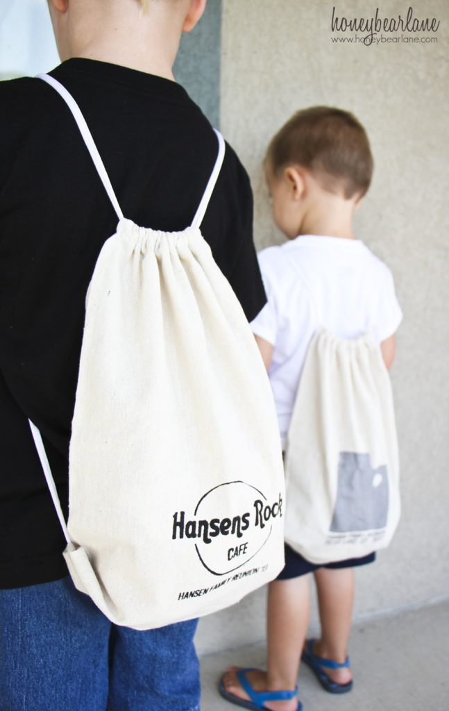 screen printed family reunion backpacks