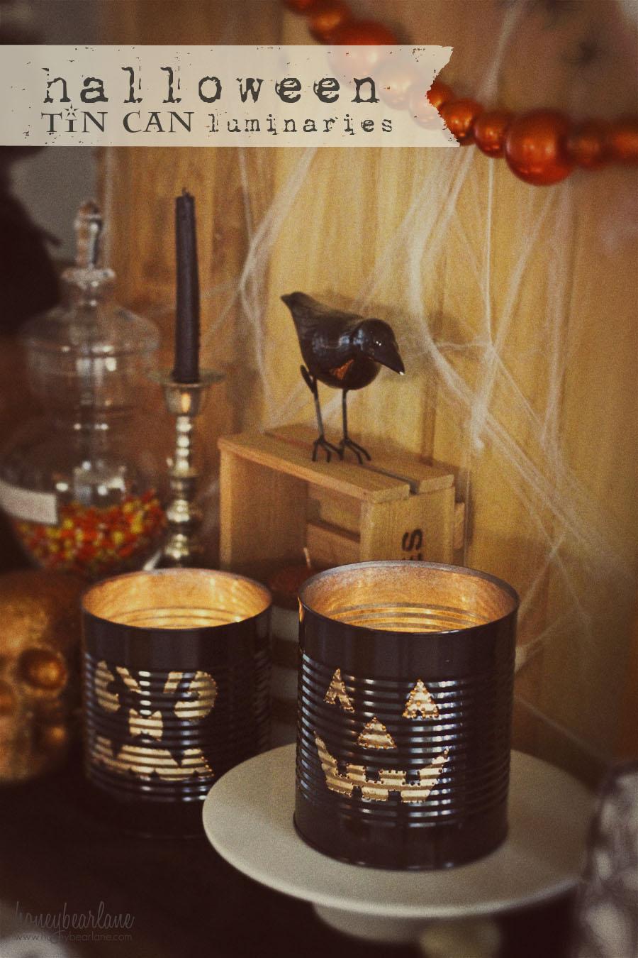 Halloween Tin Can Luminaries Honeybear Lane