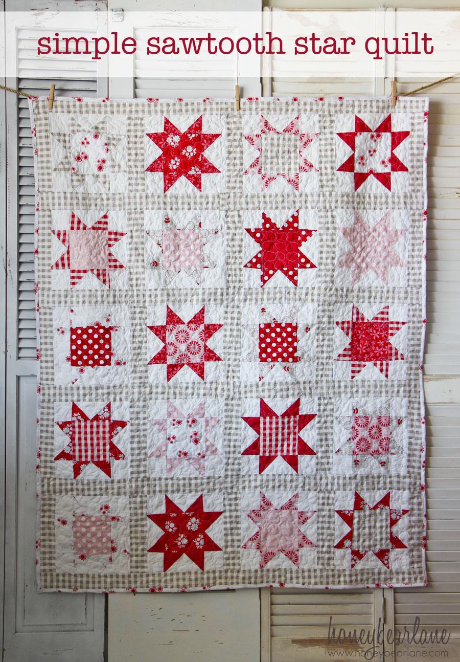 Simple Sawtooth Star Quilt Pattern Honeybear Lane