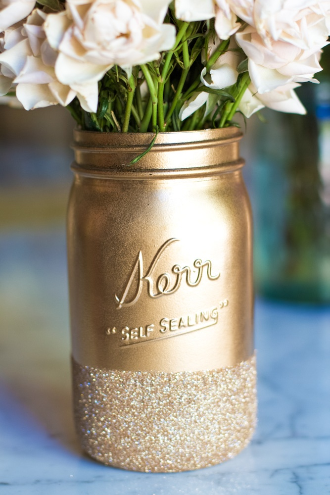 glitter and gold mason jar