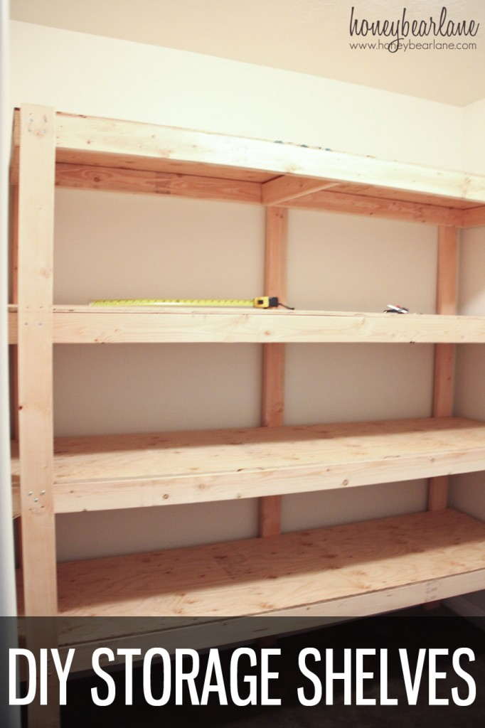 Diy storage shelves honeybear lane for Easy diy shelves