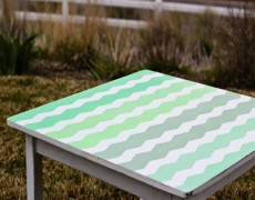 ombre chevron painted table