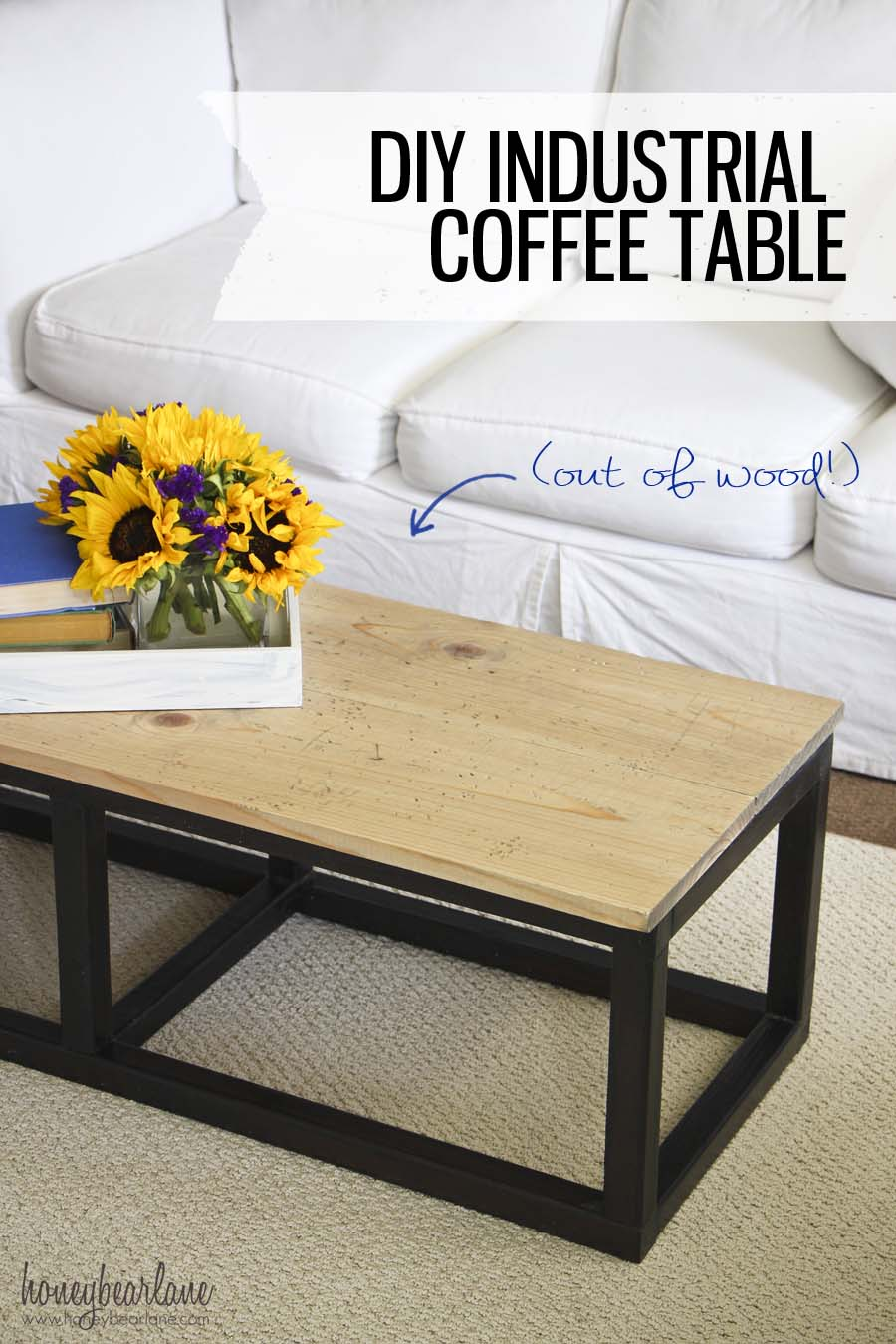 DIY Industrial Coffee Table - HoneyBear Lane