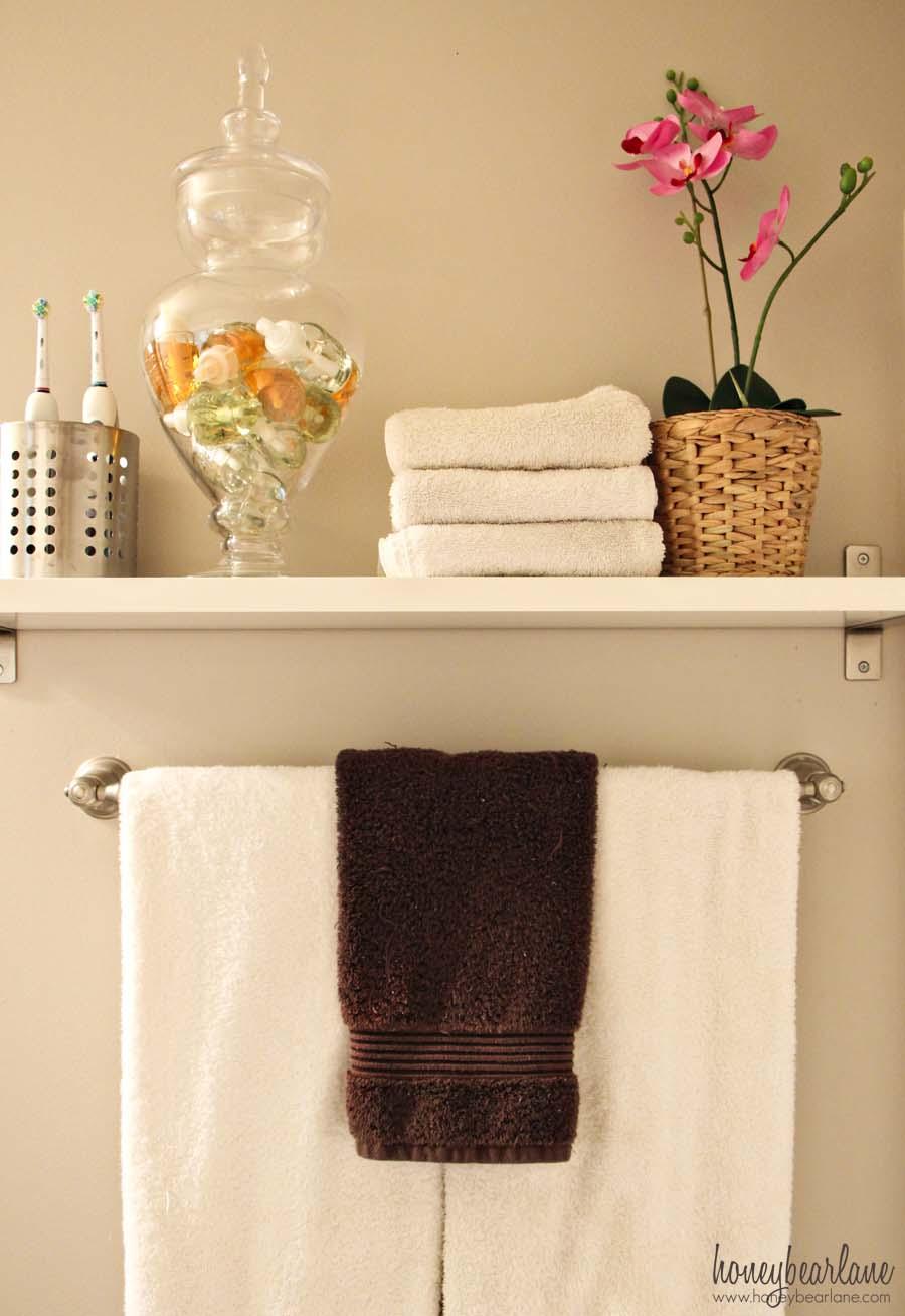 ikea shelf in bathroom - Honeybear Lane