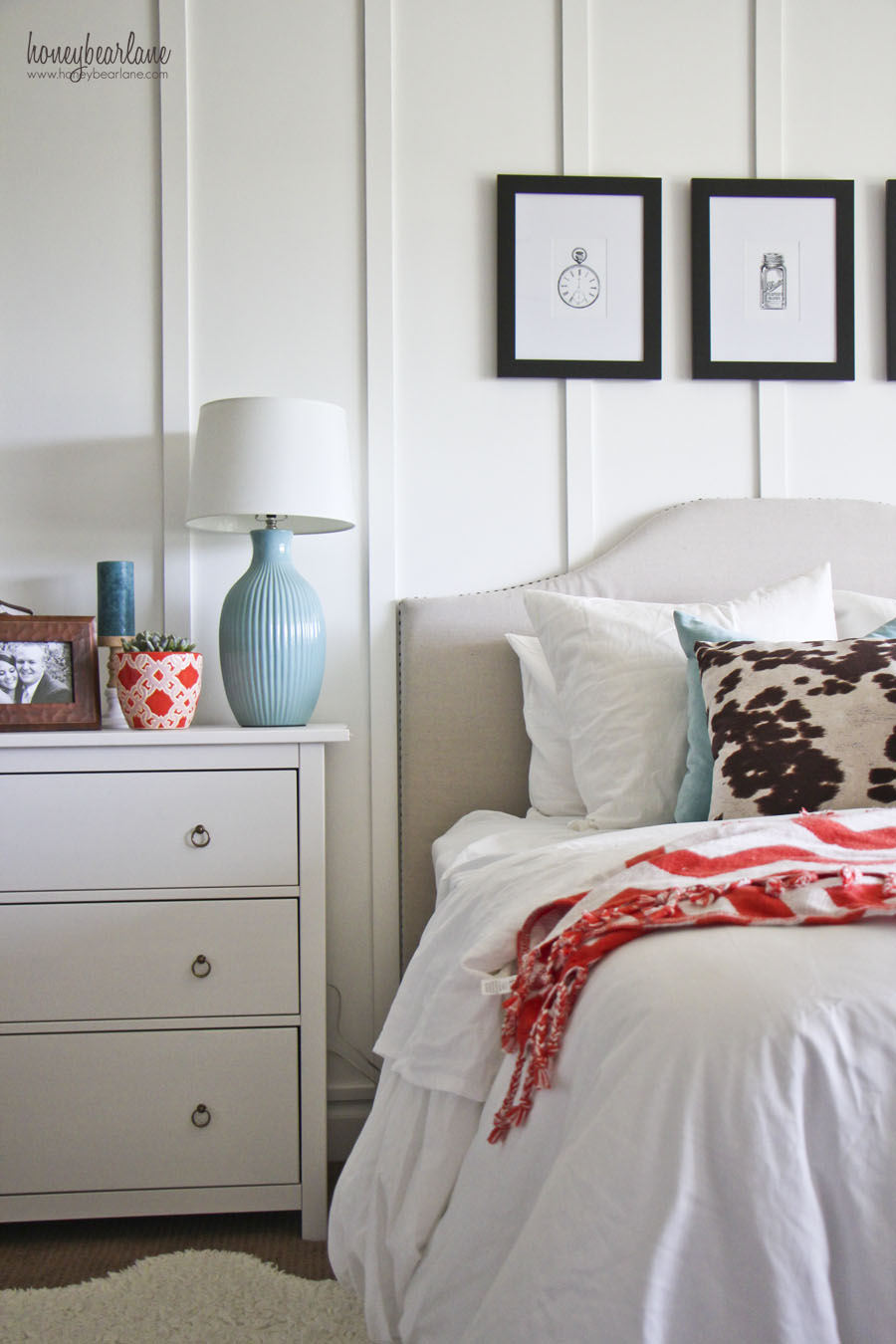 Master bedroom makeover honeybear lane for Modern farmhouse bedroom