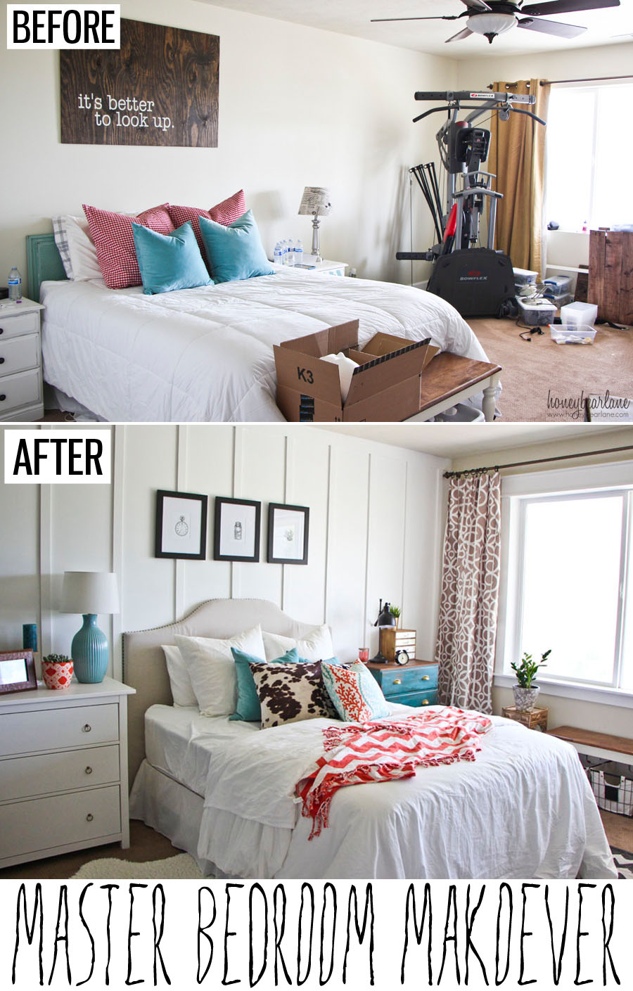 Master bedroom makeover honeybear lane for Room makeover