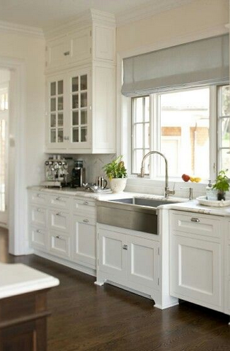 White Shaker Kitchen With Blue Subway Tile