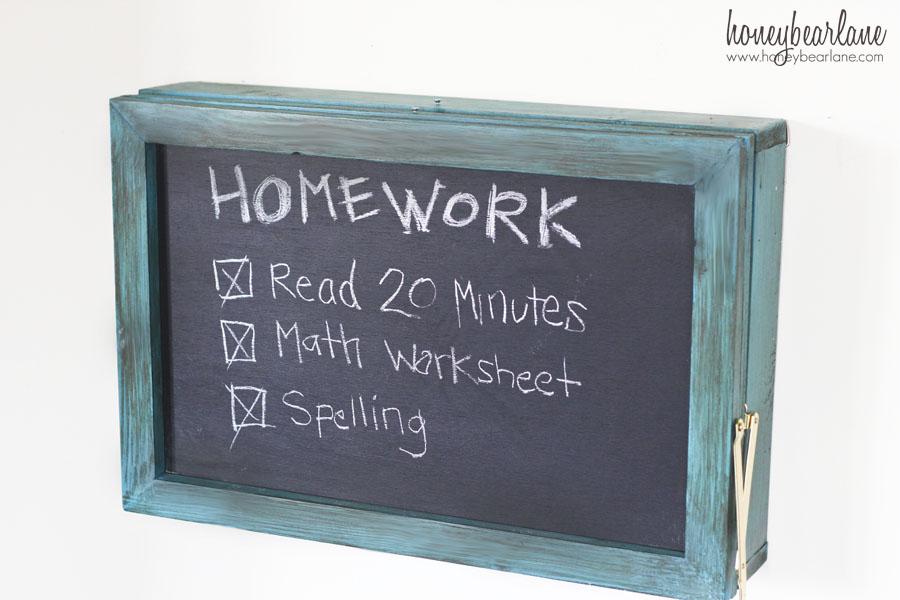 chalkboard on front of fold down desk