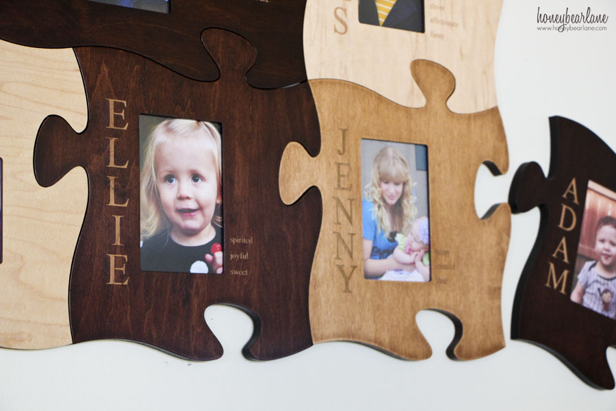 you order it online along with the words names or phrases you want engraved on the frames once it arrives putting it together in a cool puzzle was