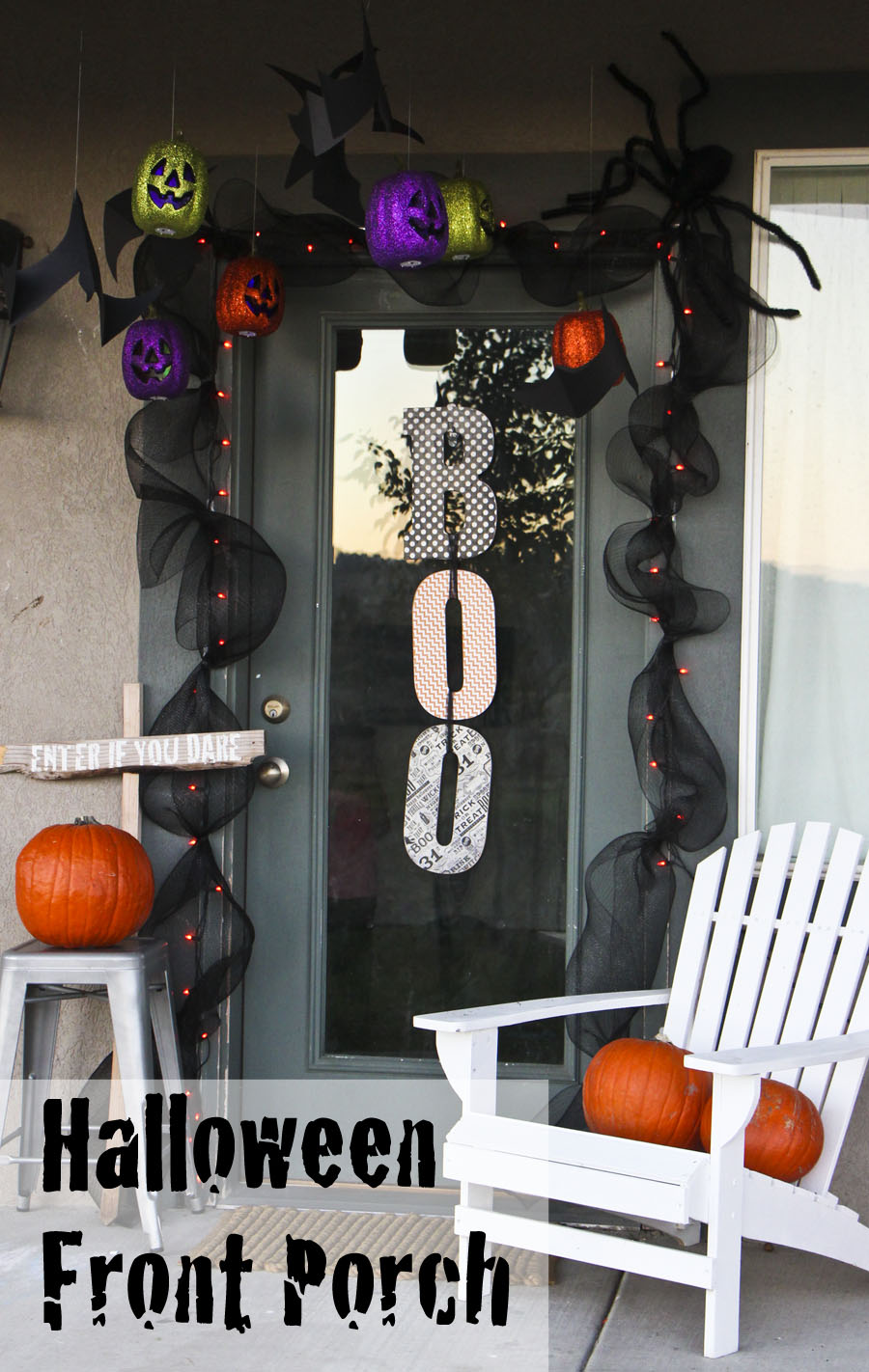 halloween front porch decor - honeybear lane