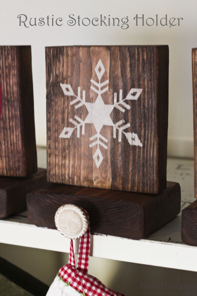 Rustic Stenciled Stocking Holders DIY via honeybearlane