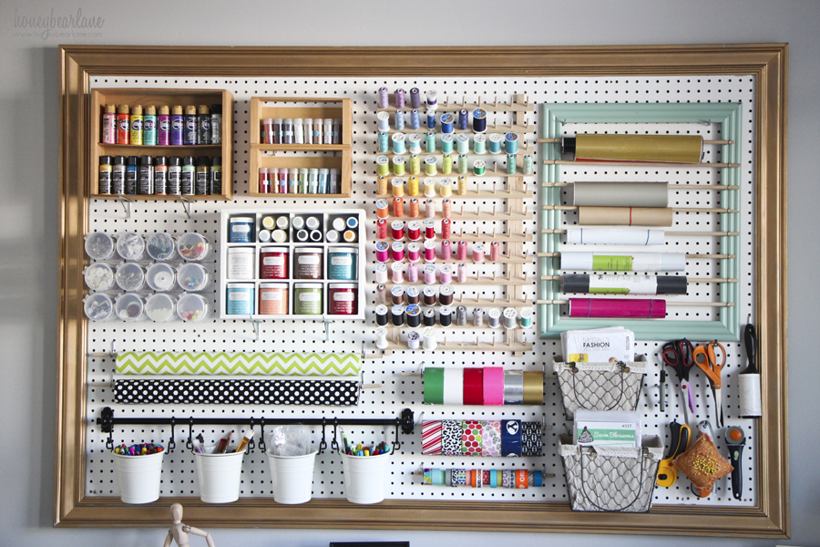 garage corner shelf ideas - Chalky Finish Paint Organizer Honeybear Lane
