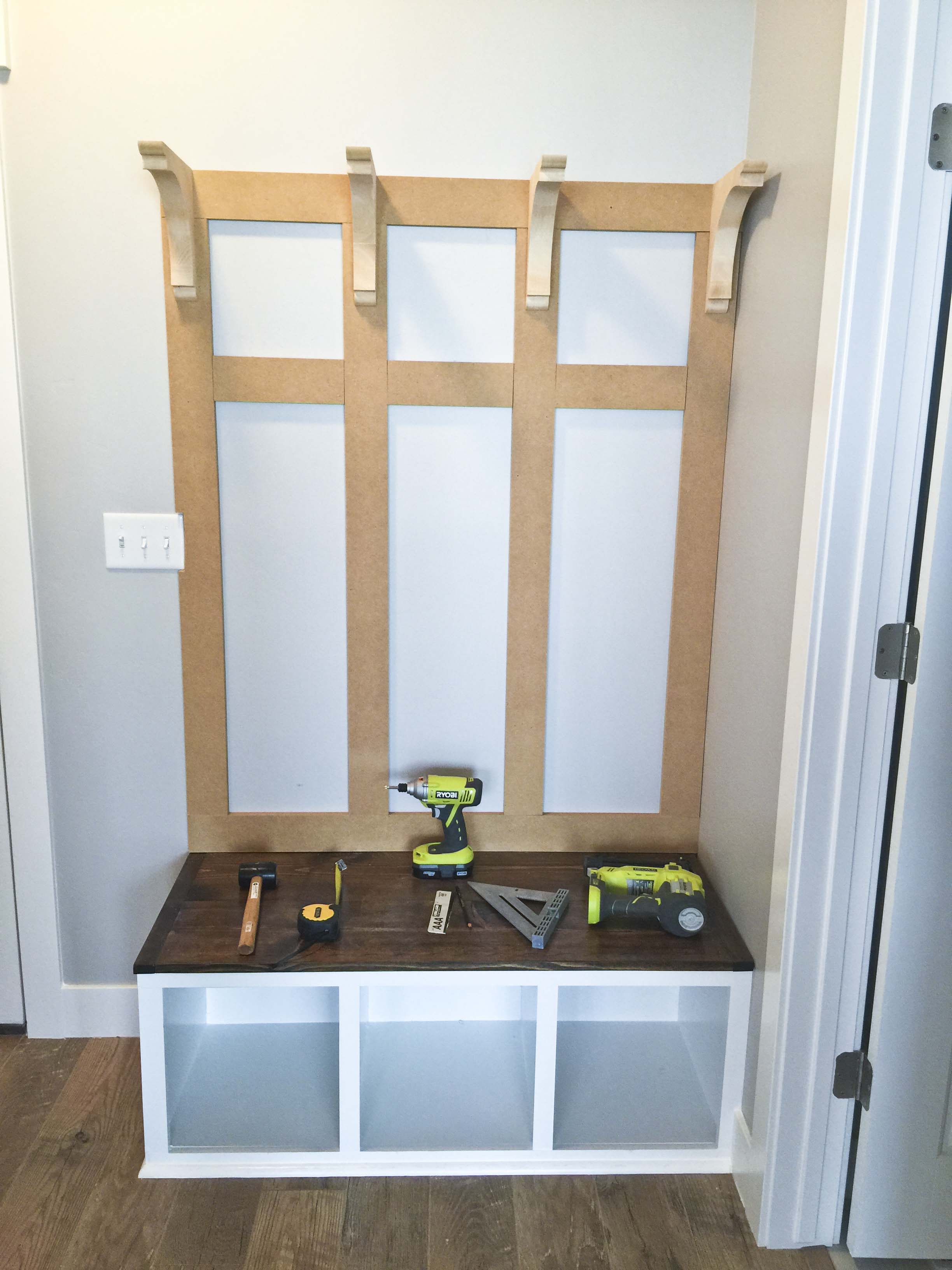 Diy mudroom bench part 2 honeybear lane Mud room benches