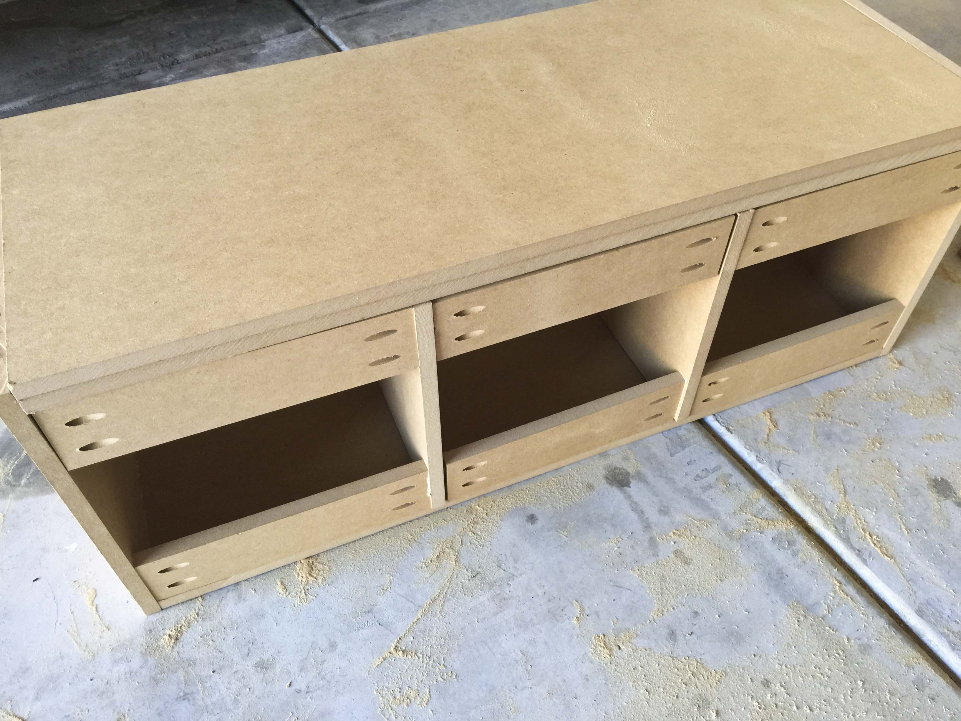 Building a mudroom bench - I Drilled Pocket Holes On The Top And Bottom Pieces And Attached Them To The Sides So That The Holes Would Not Be Visible On The Sides