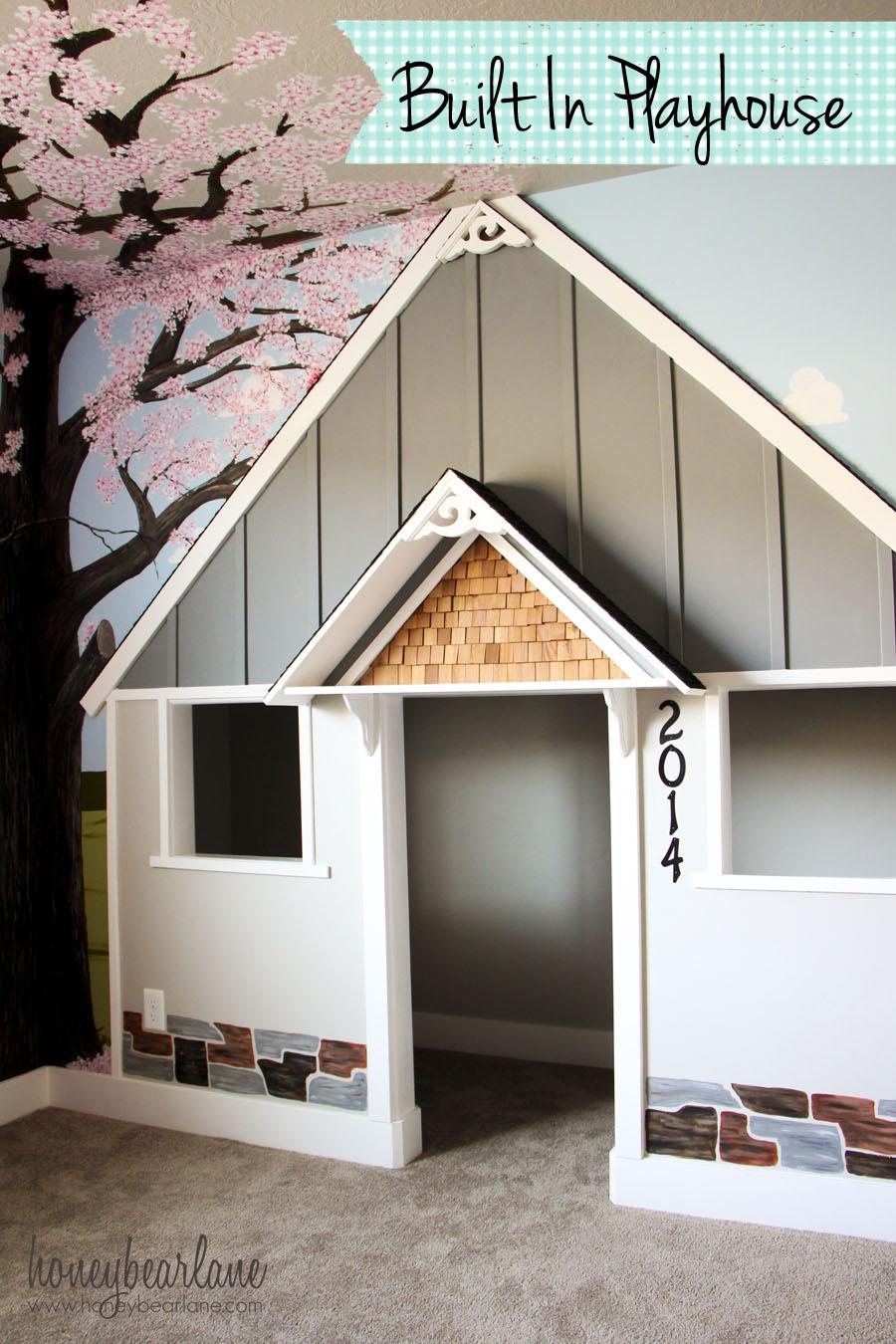 Built in indoor playhouse honeybear lane for Diy indoor playhouse