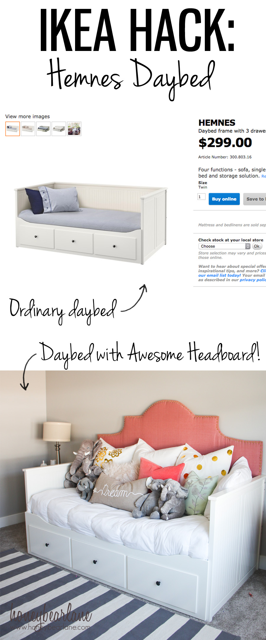 Hemnes daybed ikea hack honeybear lane for Ikea day bed