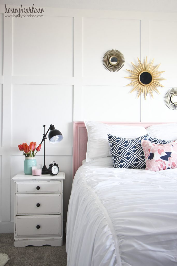 navy and pink guest room
