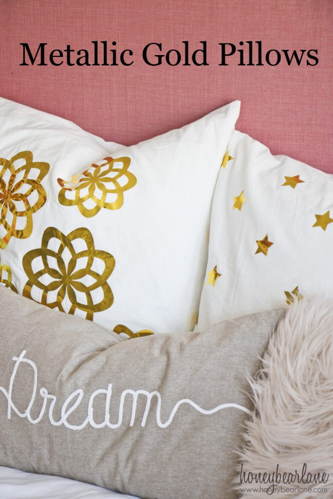 metallic gold pillows